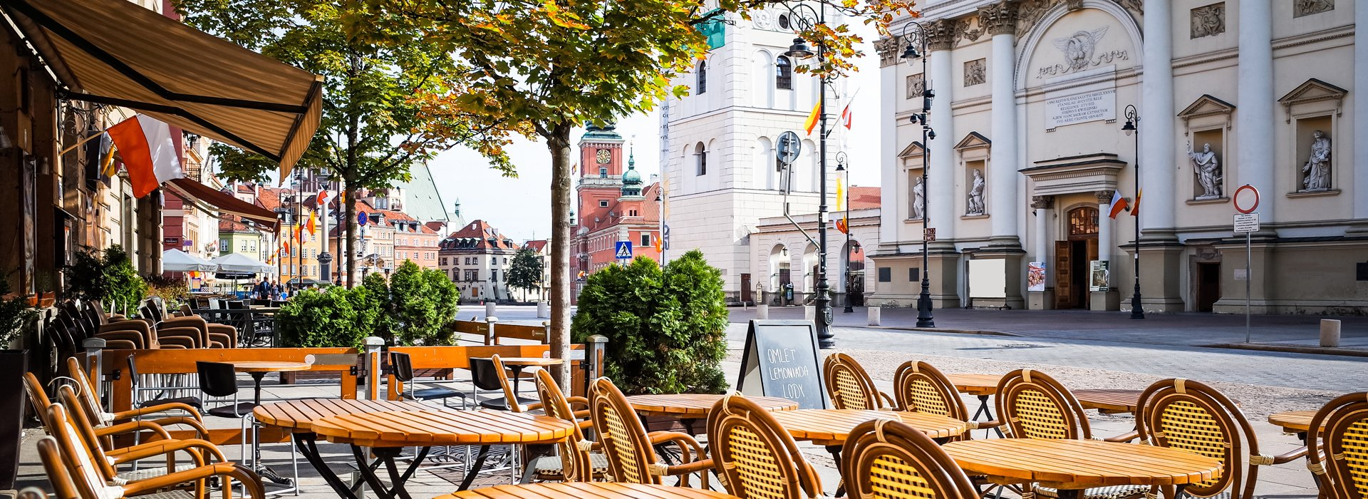 So nice and warm morning by old Town in Warsaw