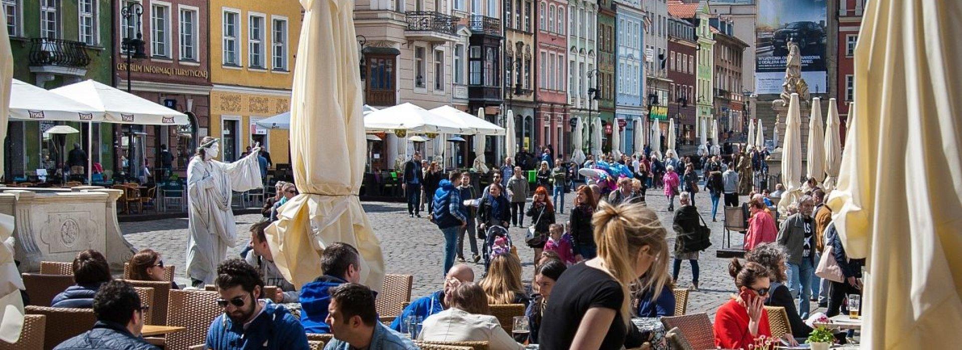 Drinking beer in nice atmosphere of  Old Town in Warsaw
